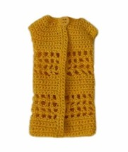 Barbie Doll Clothes Crochet Yellow One Button Long Cardigan Handmade - $6.49