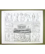 ATHENS Parthenon Festival Mythology Gods Nymphs  - 1844 SUPERB Engraving... - $16.84