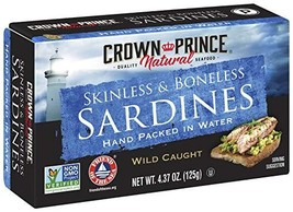 Crown Prince Natural Skinless & Boneless Sardines in Water, 4.37-Ounce Cans Pack
