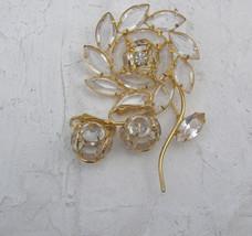 Vintage Gold Tn Clear Navette Open Back Rhinestone Figural Flower Brooch... - $29.69