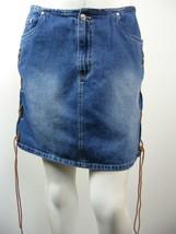 "NICK & SARAH Jean Skirt Blue Denim Side Leather Ties, Sz 11-12 - W31"" x ... - $14.73"