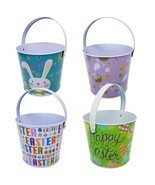 Gift Boutique Metal Tin Easter Bucket Pails, Set of 4 round Baskets with... - $29.90