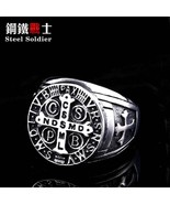 Steel soldier cross design latina amulet letter stainless steel men ring... - $12.34