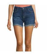 "Arizona Women's Juniors Midi 4.5"" Denim Shorts Size 11 Dark High Tide NEW - $24.74"