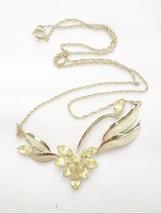 Vintage delicate 1950s sterling silver & clear rhinestone flower leaf ne... - $35.63