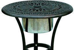 Patio End Table Cast Aluminum Furniture Elisabeth Ice Bucket Insert Bronze image 2