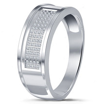 Wedding Men's Band Ring Round Cut CZ 10k White Gold Plated 925 Sterling ... - $84.99