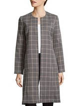 New Calvin Klein Women's Pierce Tartan Open Front Topper Jacket Chai Blush Sz 12 - $130.67