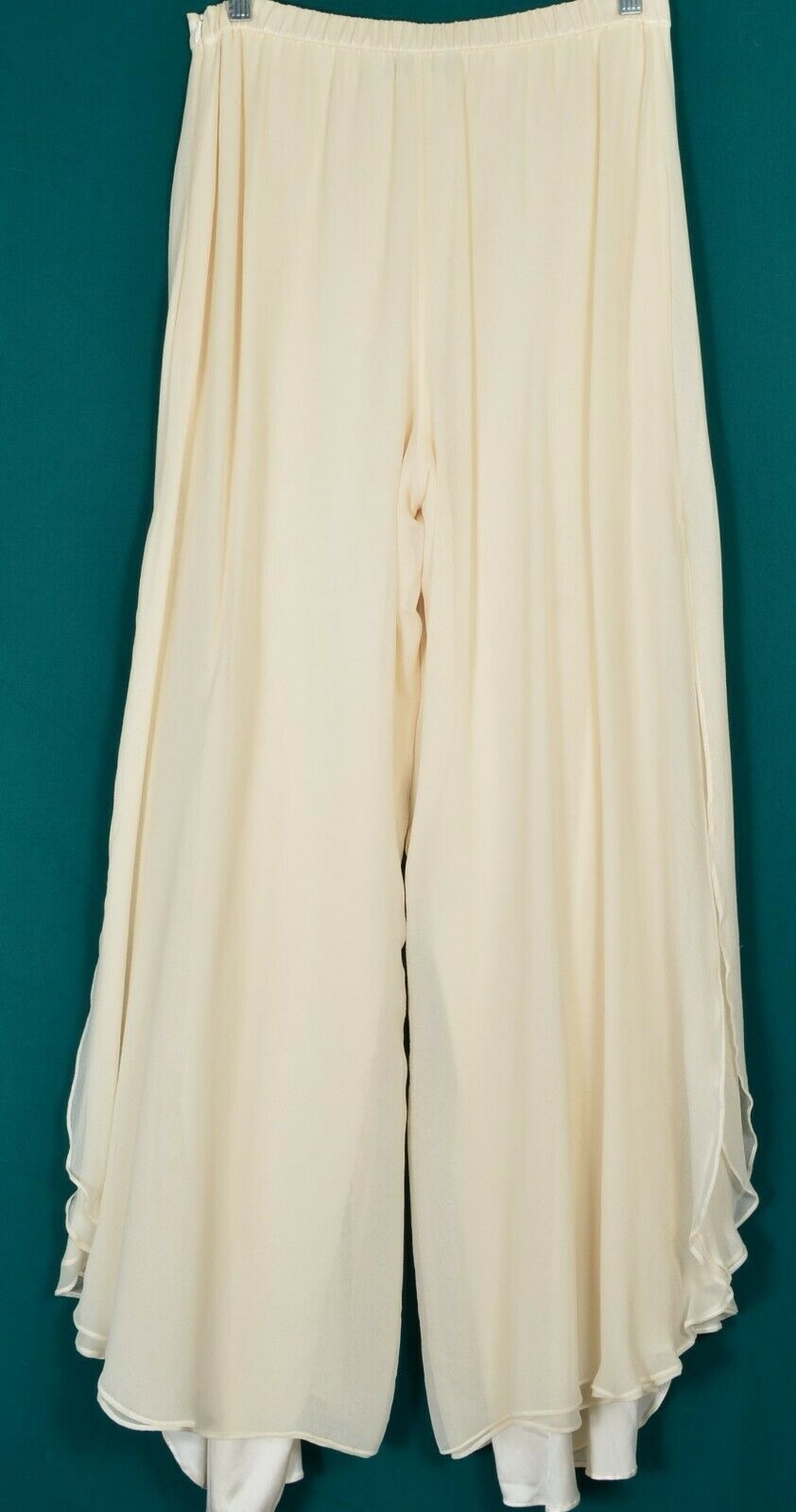 St John pants Evening SZ 8 off-white cream 2-layer silk long slits on leg USA image 8