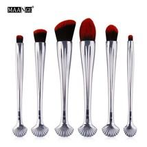 sliver black MAANGE Pro 6pcs/set New Shell Makeup Brushes Tool Kits Blush A - $36.00