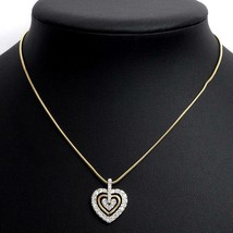 "Swarovski Heart Motif Paved Pendant Rope Necklace Crystal Gold Women 16"" - £30.93 GBP"