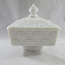 Candy Dish Westmoreland Covered Milk Glass Square Vintage Quilted Original - $32.56