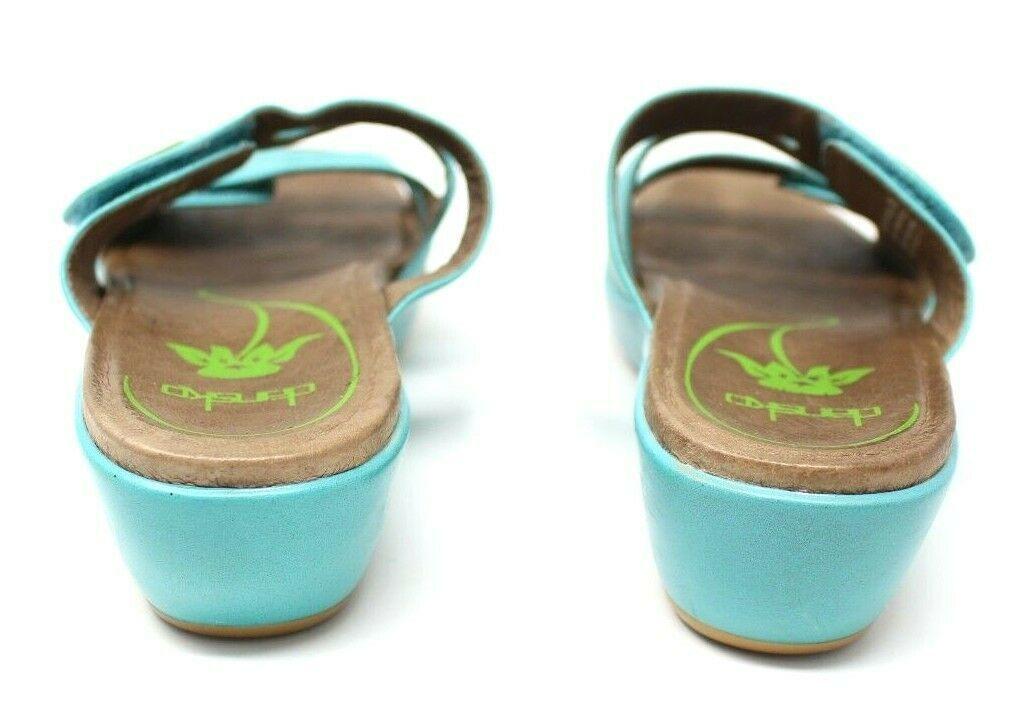 Dansko Women's 38 7.5 8 Turquoise Blue Dixie Sandals Slides Leather Artsy EUC image 6