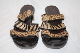 DITTO By Vaneli Black Strappy Animal Print Wedge Sandals Womens Size 10-B95 - $28.00