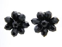 VTG Silver Tone Black Bead Cluster Clip Earrings - $19.80