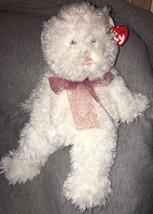 """TY CLASSIC BEANIE BUDDY SUGARCANE WHITE FUZZY BEAR PINK PAWS BOW MWMT 15"""" - $11.87"""