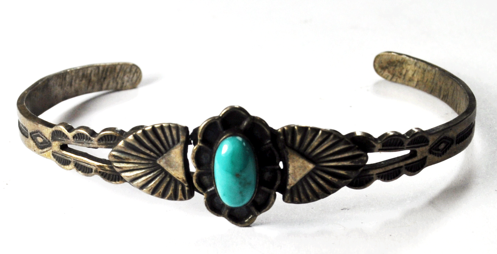 Primary image for Antique Sterling Silver Harvey Era 1930's Turquoise Split Cuff Bracelet 16mm