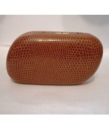 Contact Lens Case Hard with mirror Light Brown Alligator look Angled - $8.90