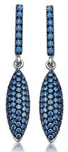 Sterling Silver 925 Dangle Earrings Pave Setting Blue Coloured Zirconia ... - $61.74