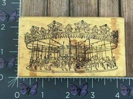 The Stampa Barbara Carousel Ride Rubber Stamp 1987 Carnival Wood #W49 - $16.09