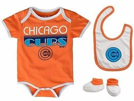 Infant Chicago Cubs Creeper Set 'Lil Player Bodysuit Bib Booties MLB Baby CCandy