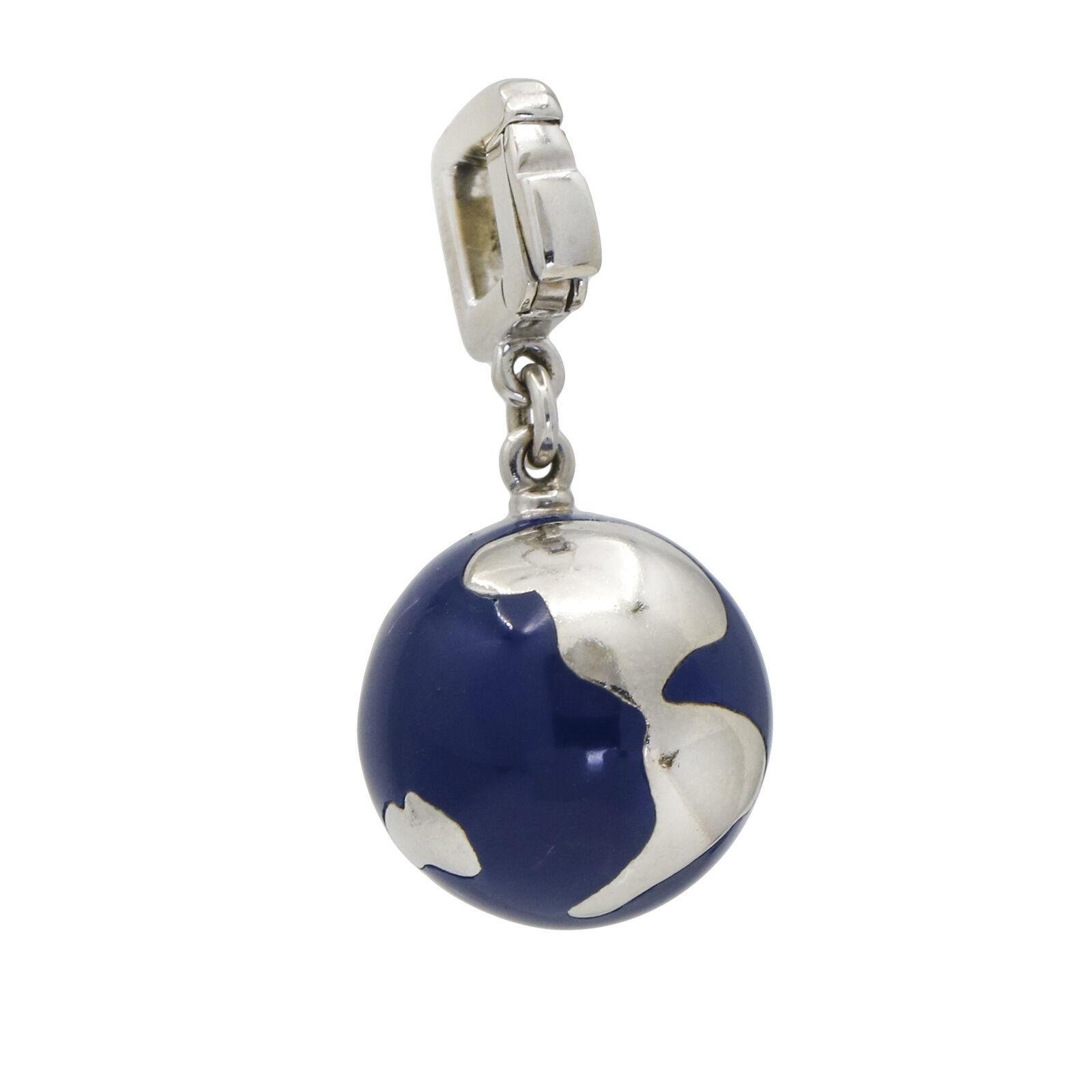 Louis Vuitton Enamel Globe Charm with a Diamond in 18k White Gold - $2,695.00