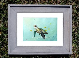 Sea Turtle S/N Limited edition print from watercolor Framed art tortoise... - $29.95