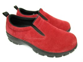 Lands End Womens 8 Slip On Shoes All Weather Comfort Red Suede Outdoor Hiking - $27.00