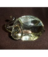 crystal laying down elephant w/ trunk up paper weight - $16.50