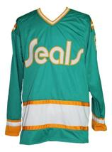 Any Name Number California Seals Retro Hockey Jersey Green Meloche Any Size image 4