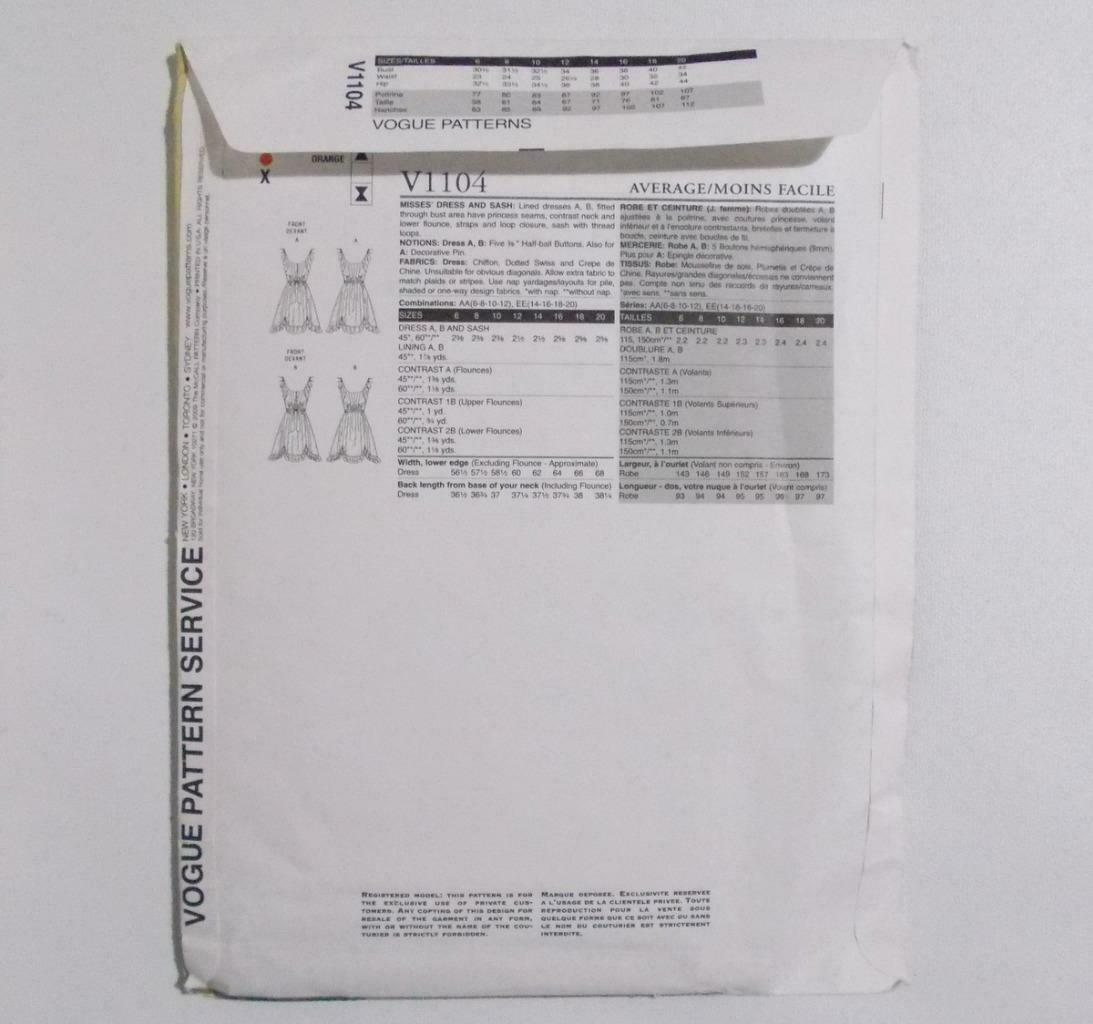 Vogue American Designers Anna Sui V 1104 Dress Pattern Size AA 6-12 Uncut image 5