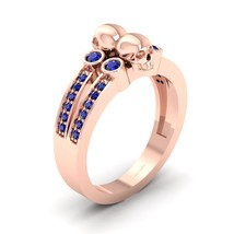 0.35cttw Blue Diamond Crypt Keeper Inspired Punk Geeky Gothic Skull Weeding Ring - $869.99