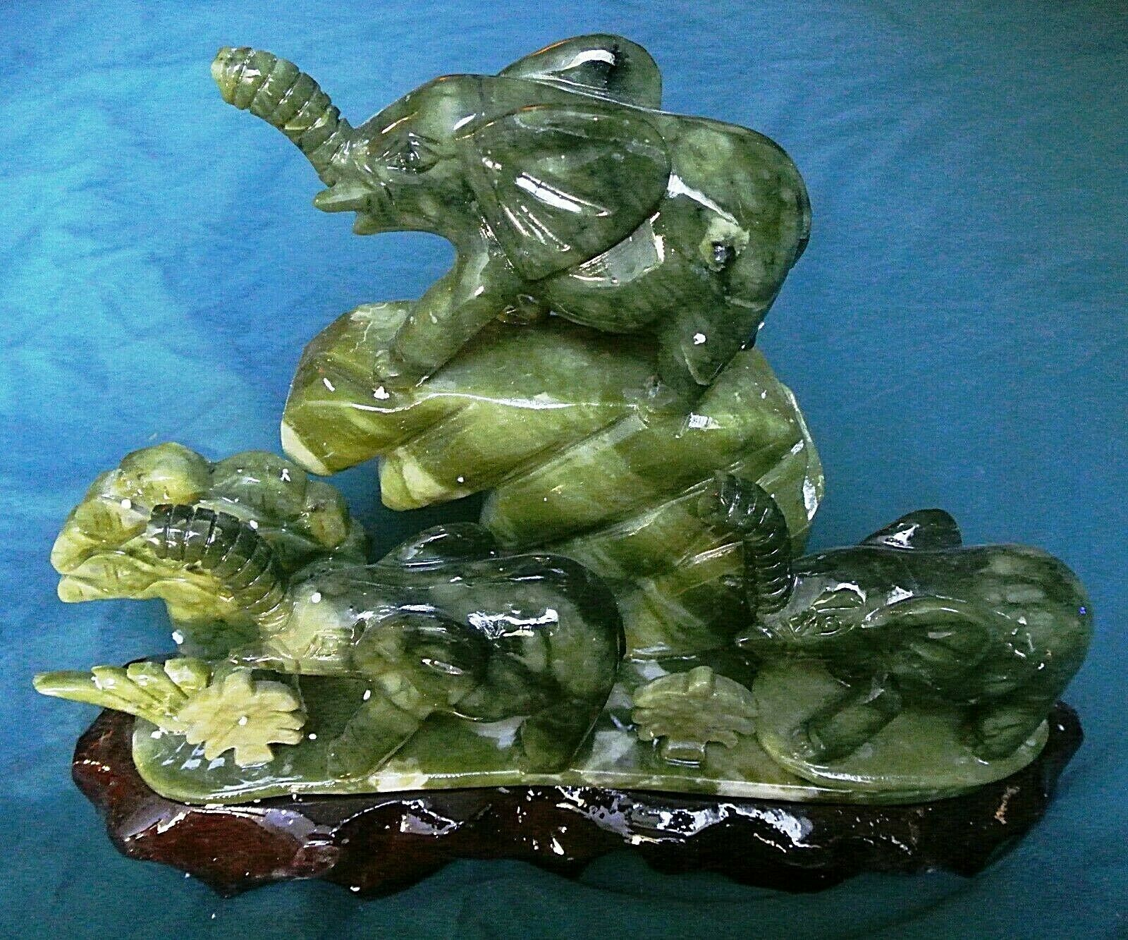 Primary image for Three Lucky Elephants Mountain/Real Green Jade/2,230 Ct Total Weight/List $1,200