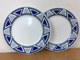 """Pair Vtg Mikasa Studio Nova Vista JJP01 Blue Green Triangle Dessert Plates 7.5"""" - $21.59"""