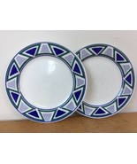 Pair Vtg Mikasa Studio Nova Vista JJP01 Blue Green Triangle Dessert Plat... - $21.59
