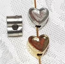 HEART VERTICAL HOLE FINE PEWTER BEAD - 7x8x5.5mm; Hole 2mm