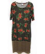Rare LuLaRoe Medium Julia With Roses and Stripes Womens Dress Major Unic... - $42.53