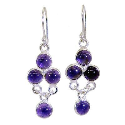 Primary image for Purple 925 Sterling Silver Natural excellent Amethyst jewellery Earring AU gift