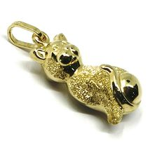 ROUNDED 18K YELLOW GOLD CAT PENDANT, DOUBLE FACE, SMOOTH SATIN 22mm, 0.87 inches image 3