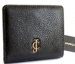 JUICY COUTURE $79.99 Black Leather Bifold Wallet YSRUO124 Gold Tone Hard... - $24.99
