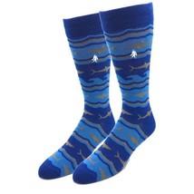 Bamboo Shark Socks Fun Novelty Navy One Size Fits Most Dress Casual Big ... - $12.99