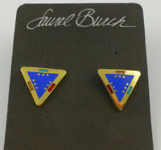 "LAUREL BURCH ""For Marie"" Triangle Gold-Tone and Enamel EARRINGS -Blue Ye... - $25.00"