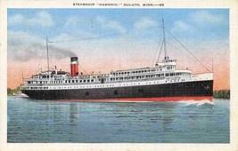 Steamer Hamonic Duluth Minnesota 1943 linen postcard - $6.44