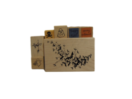 Halloween Stamps - NEW - Set of 7 Different Stamps Mounted on Wood