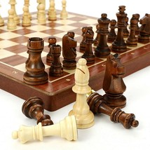 New 30*30cm Standard Game Vintage Wooden Chess Set Foldable Board Great Gift - $100.97