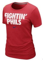 Womens Nike Red Philadelphia Phillies Fightin Phils Logo Tee Philly 35% Off MSRP - $19.49