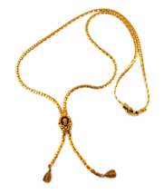 Goldette Vintage Necklace  Angel Pendant   Lariat or Bolo Style  Victori... - $44.00