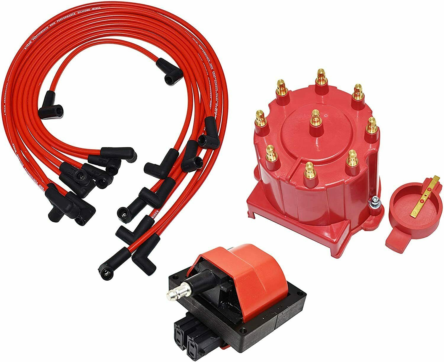 87-94 Chevy GM 305 350 454 EFI Distributor Tune Up Kit, & 8.0mm Spark Plug Wires