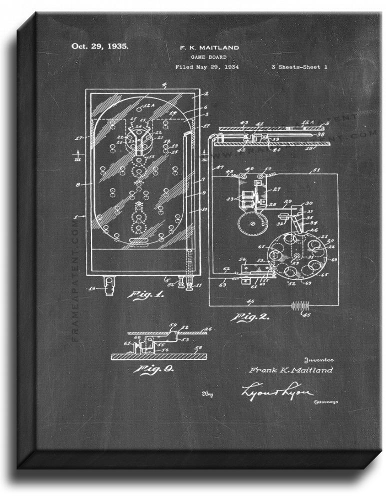 Primary image for Pinball Game Patent Print Chalkboard on Canvas