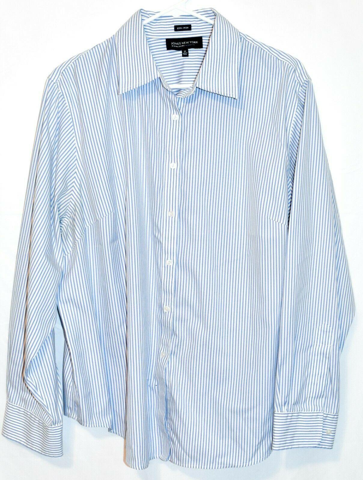 Jones New York Signature Woman Non Iron Blue & White Pinstripe Button-Up Blouse